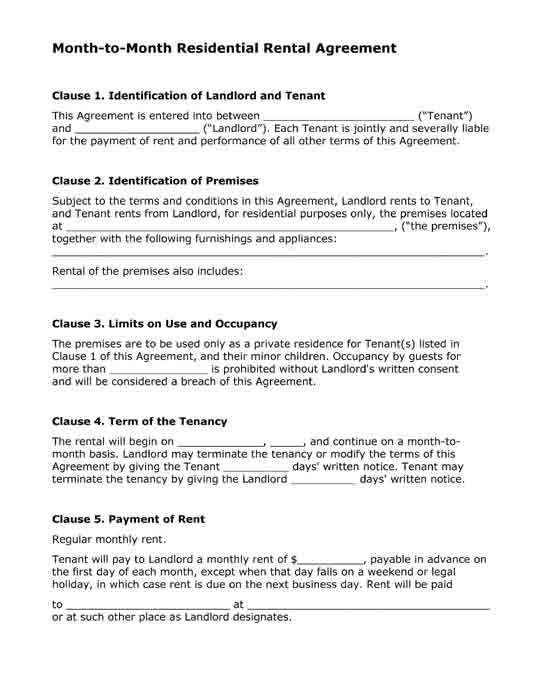 Rental Agreement Month To Month Planet12sun Com Printables