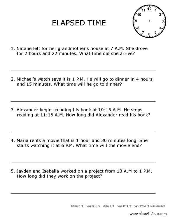 Printable 5th grade elapsed time worksheets