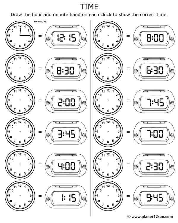 Pictures 2nd Grade Telling Time Worksheets   Pigmu