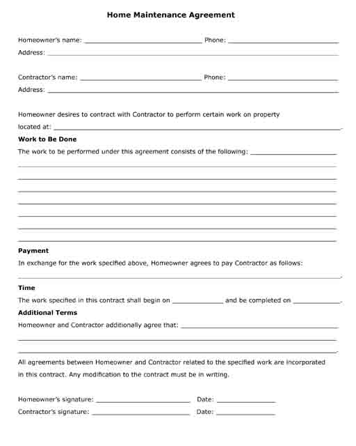 Free Printable Legal Forms - Contractor legal forms